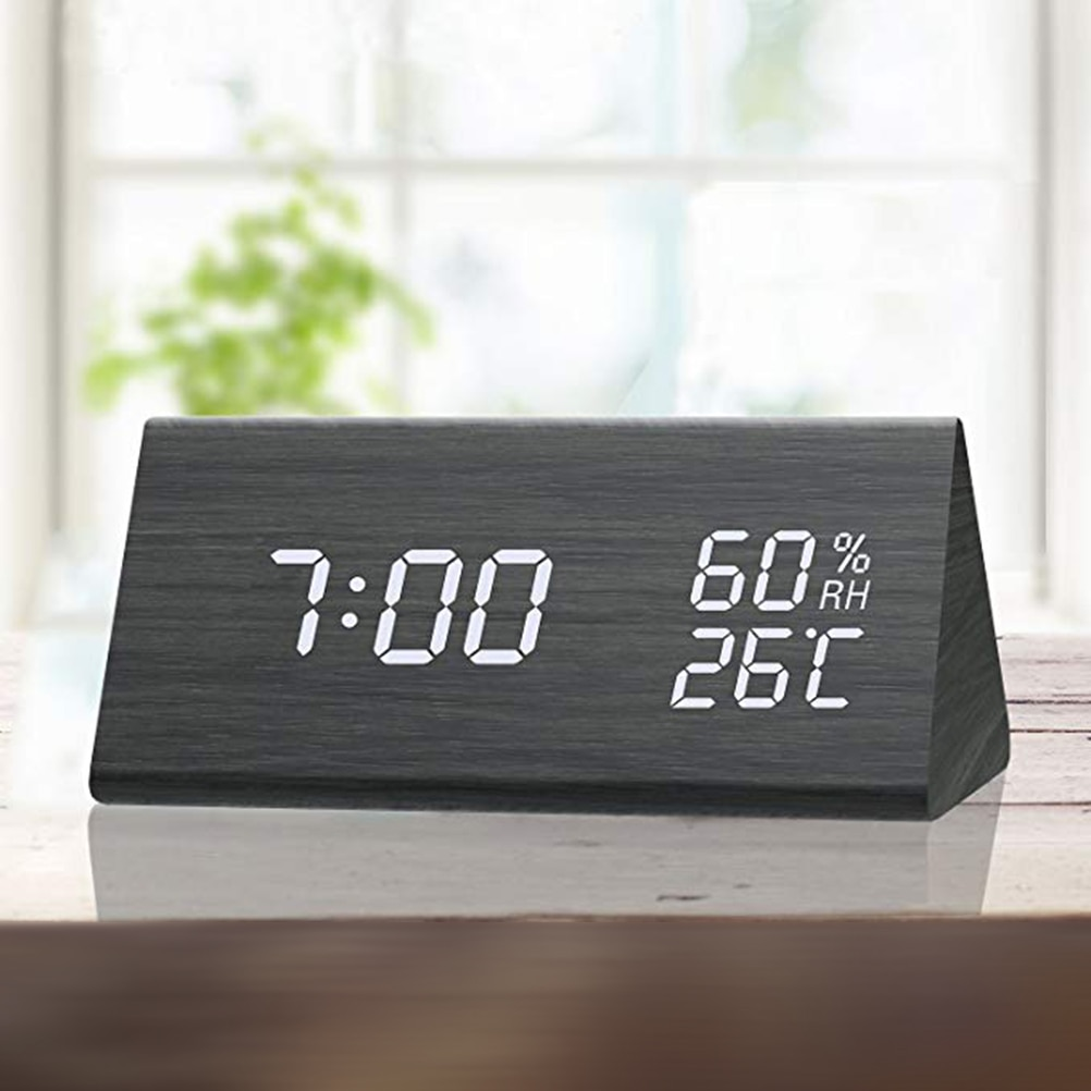 Digital Wooden Clock with LED Time Display
